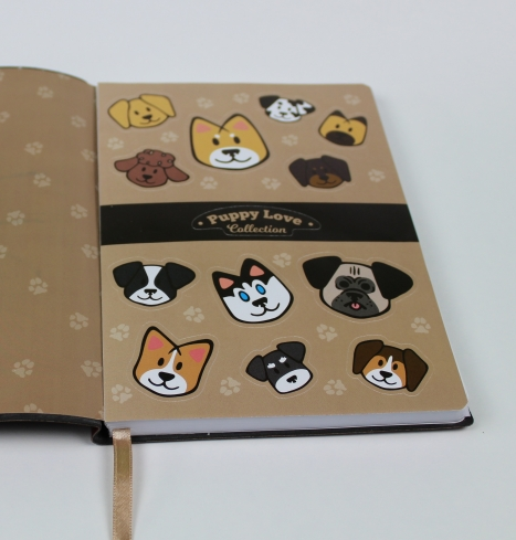 Internal side - Stickers page on Puppy Love Notebook - Puppy Love Collection